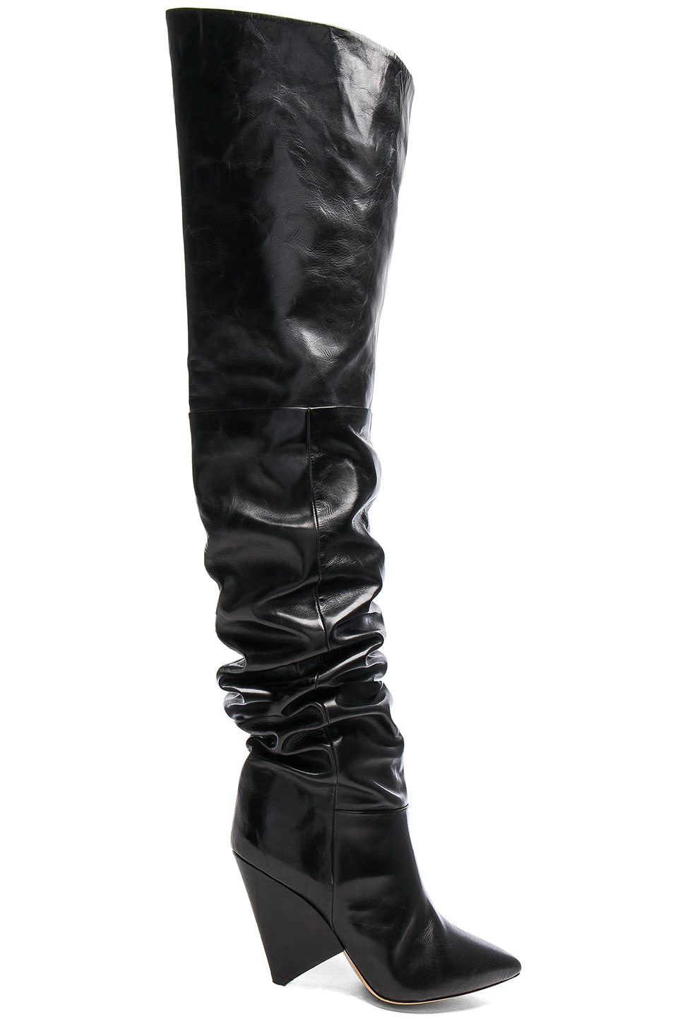 1662b0ca464 Image 1 of Isabel Marant Lostynn Leather Thigh High Boots in Black