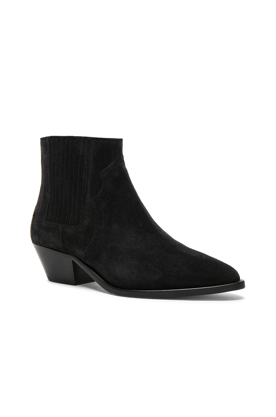 Image 2 of Isabel Marant Suede Derlyn Low Boots in Faded Black