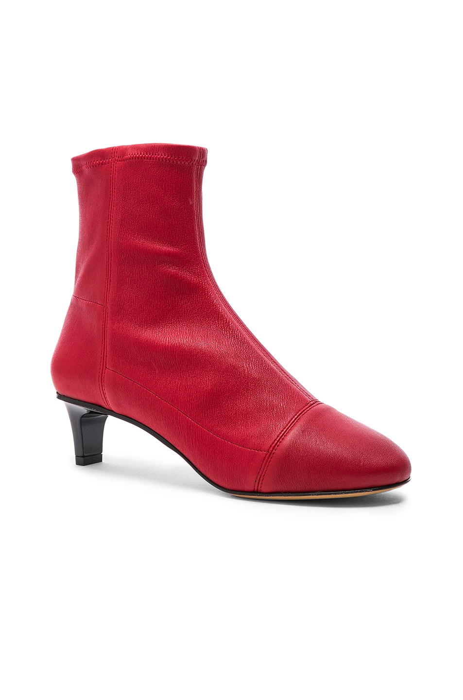 Image 2 of Isabel Marant Daevel Sock Boots in Red