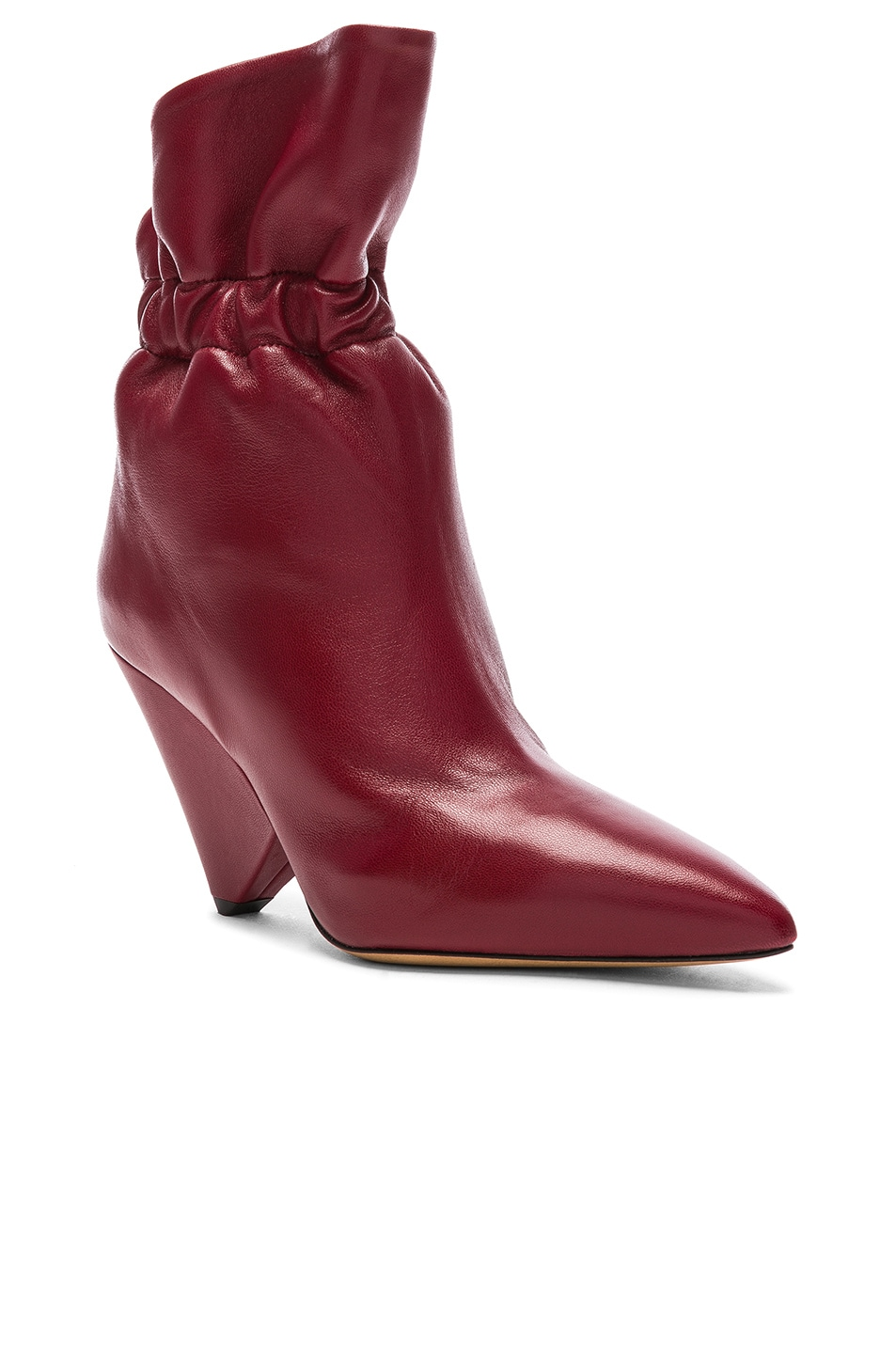 Image 2 of Isabel Marant Leather Lileas Boots in Burgundy