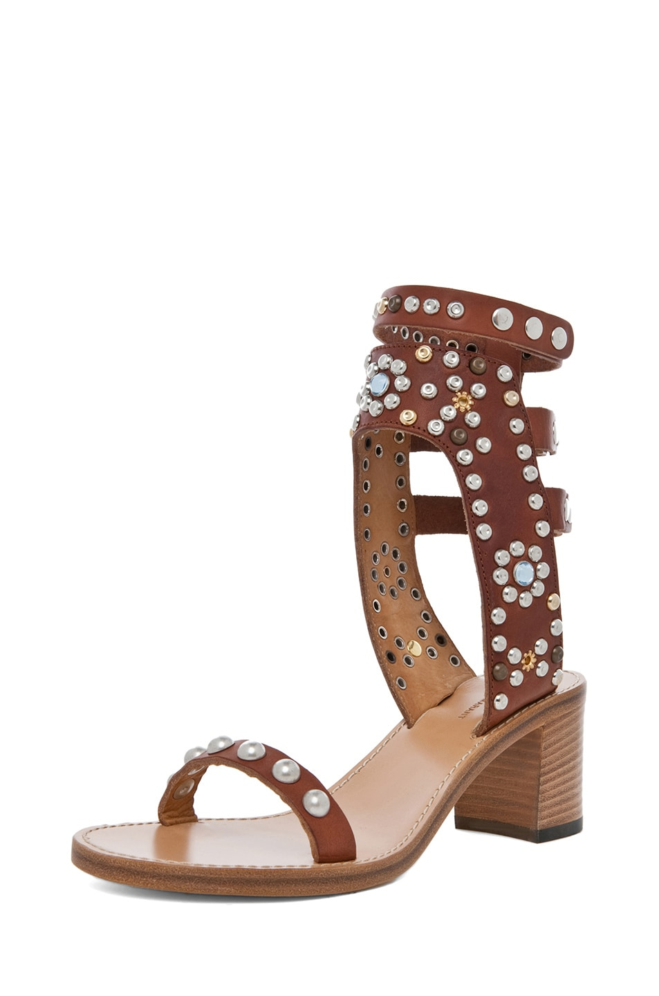 Image 2 of Isabel Marant Caroll Strassed and Studded Sandal in Cognac