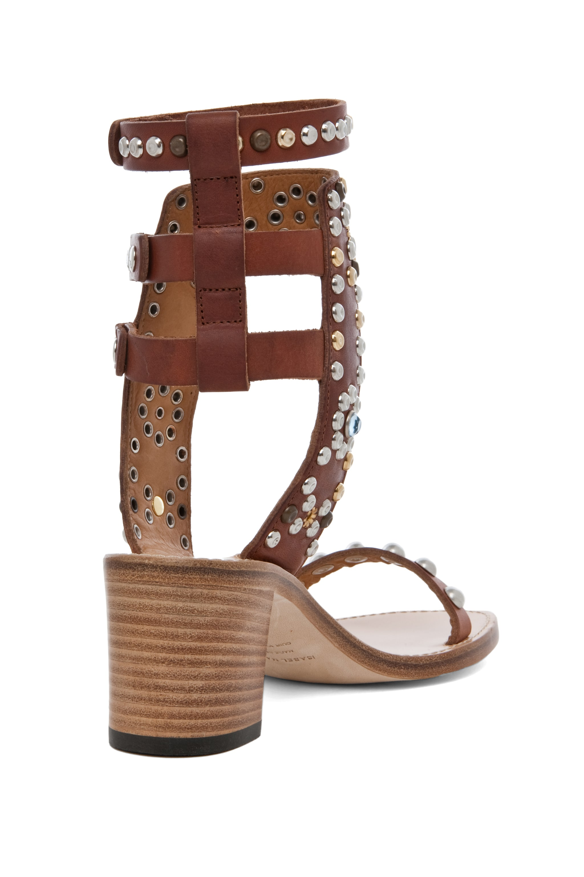 Image 3 of Isabel Marant Caroll Strassed and Studded Sandal in Cognac