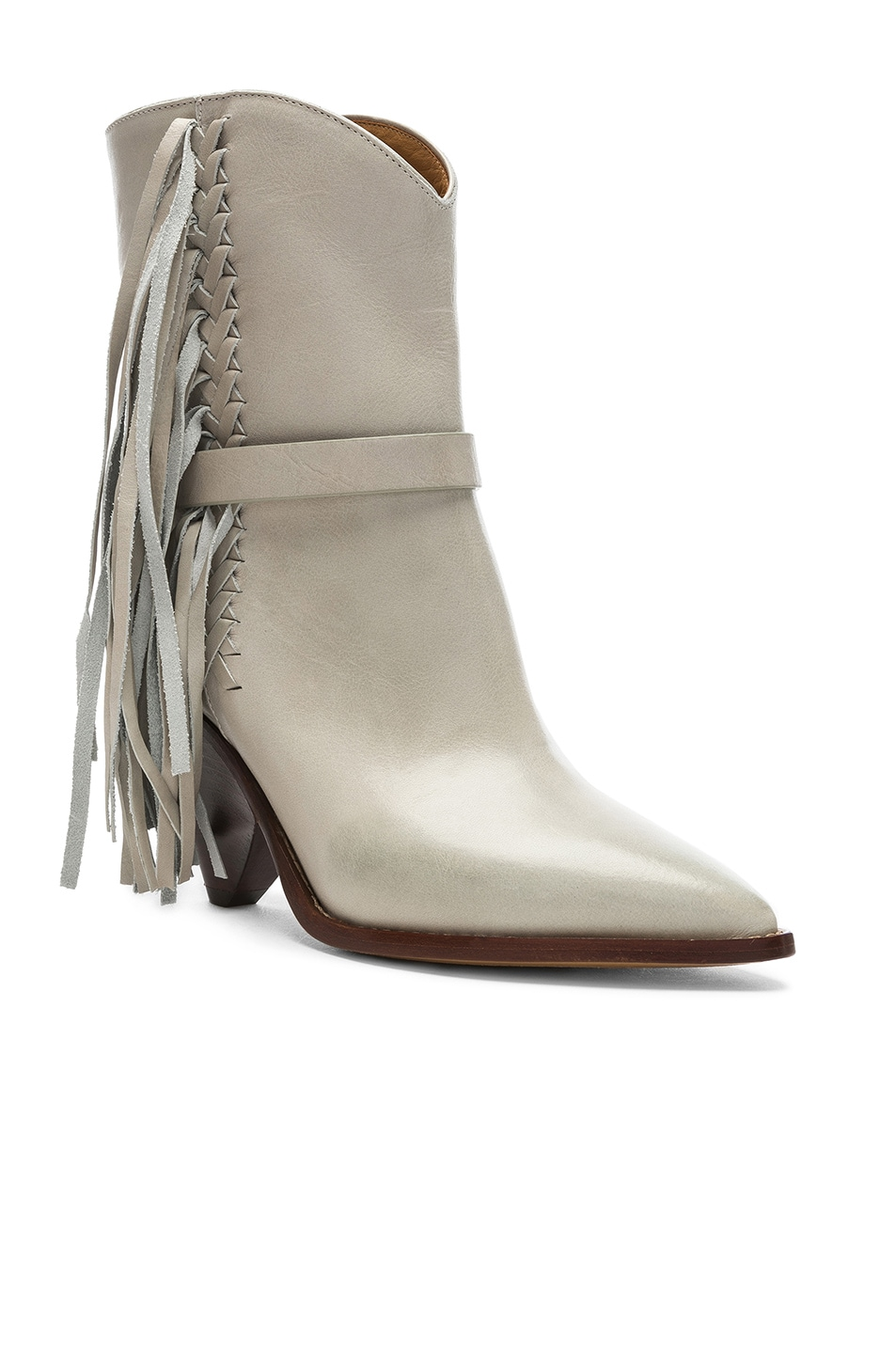Image 2 of Isabel Marant Leather Loffen Boots in Chalk