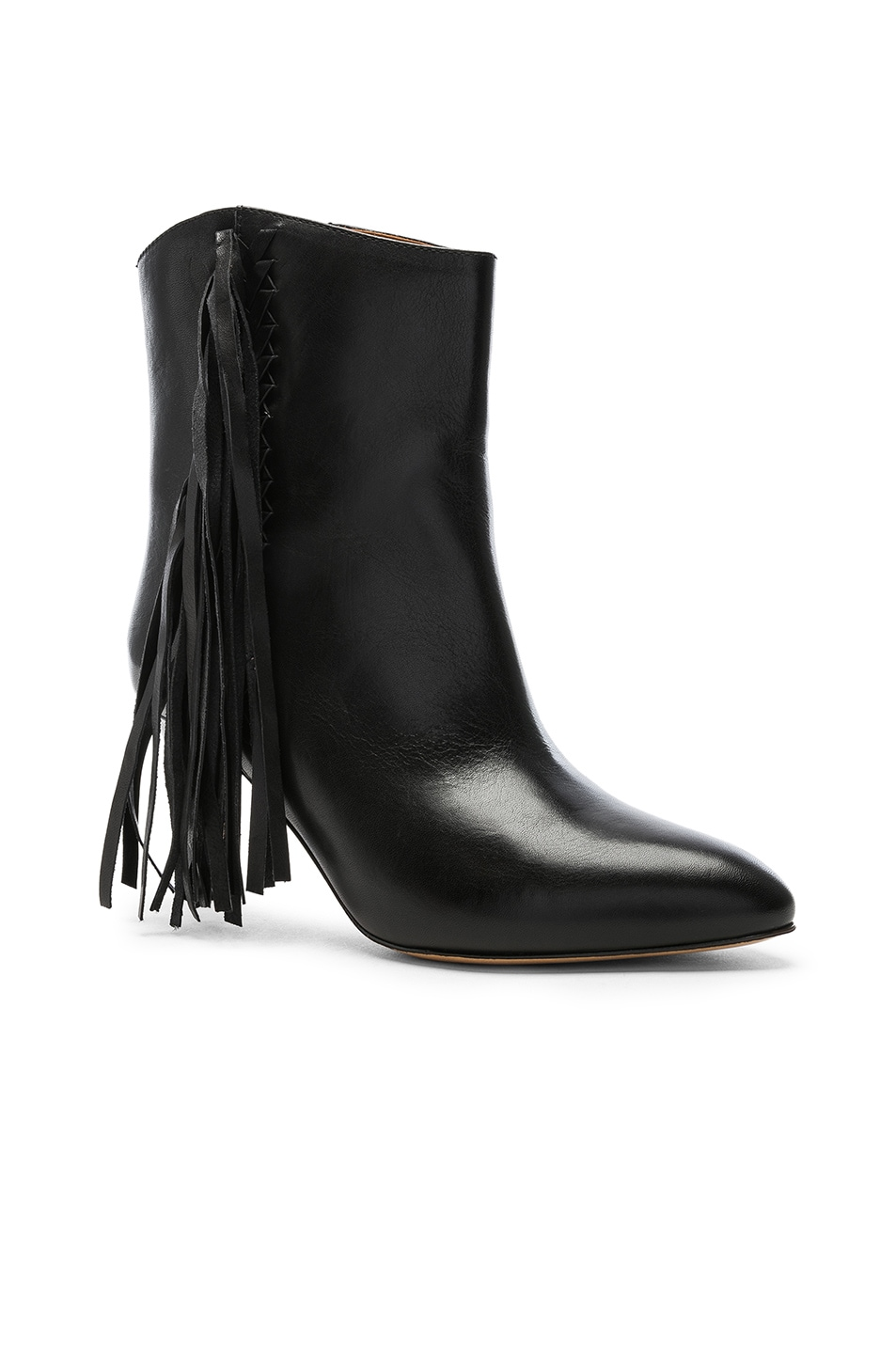 Image 2 of Isabel Marant Leather Dringe Boots in Black
