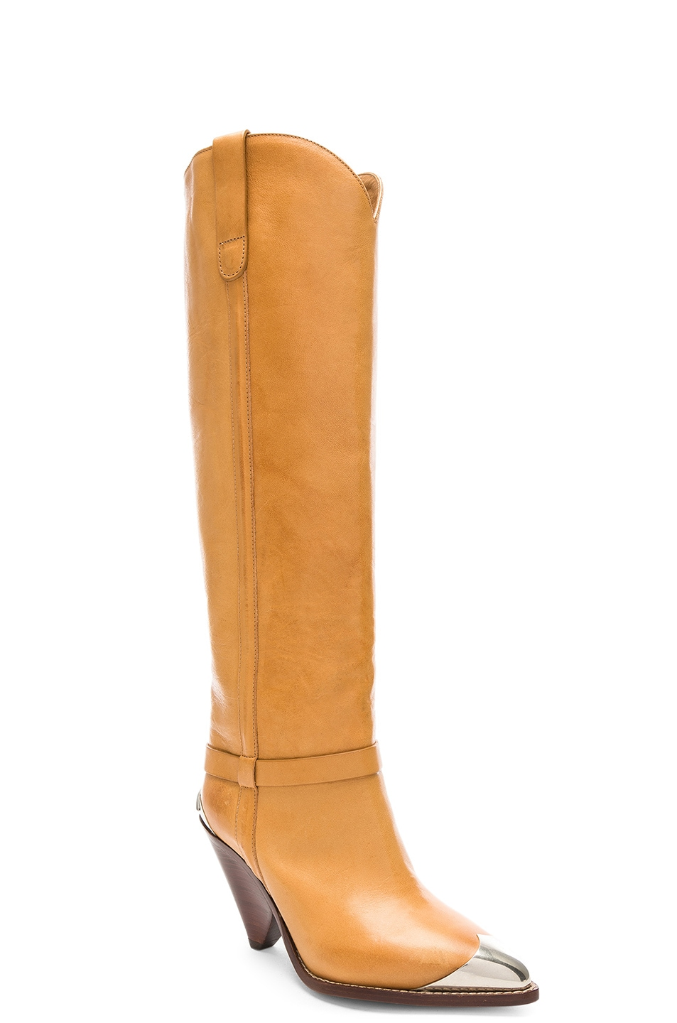 Image 2 of Isabel Marant Leather Lenskee Boots in Natural