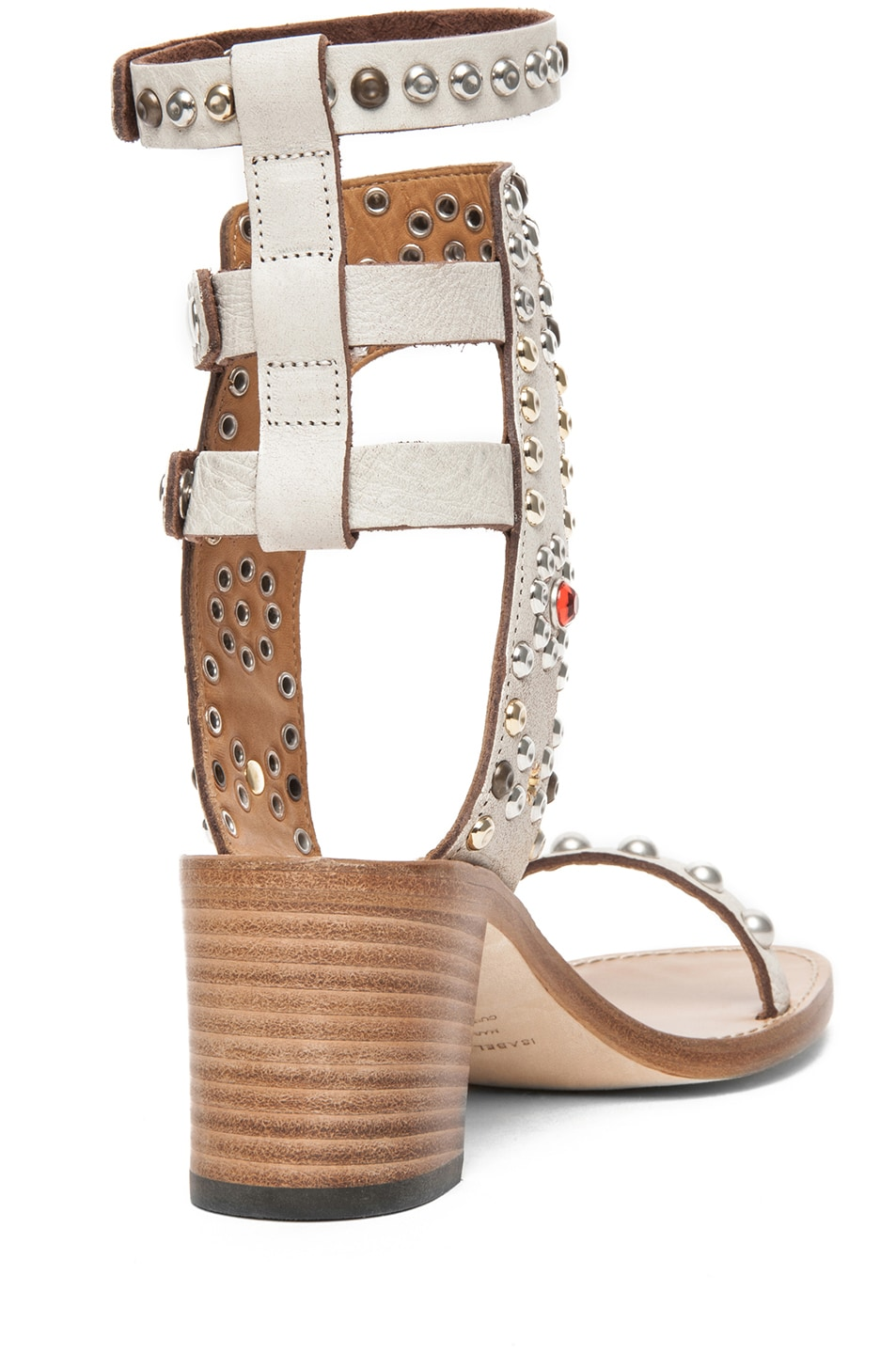 Image 3 of Isabel Marant Caroll Strassed and Studded Sandal in Craie