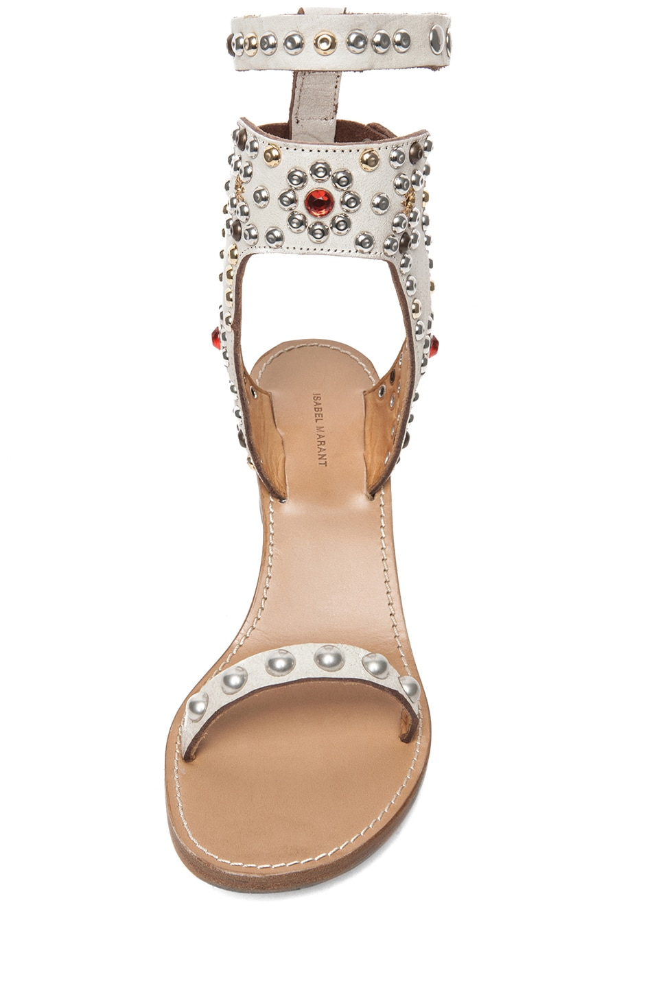 Image 4 of Isabel Marant Caroll Strassed and Studded Sandal in Craie