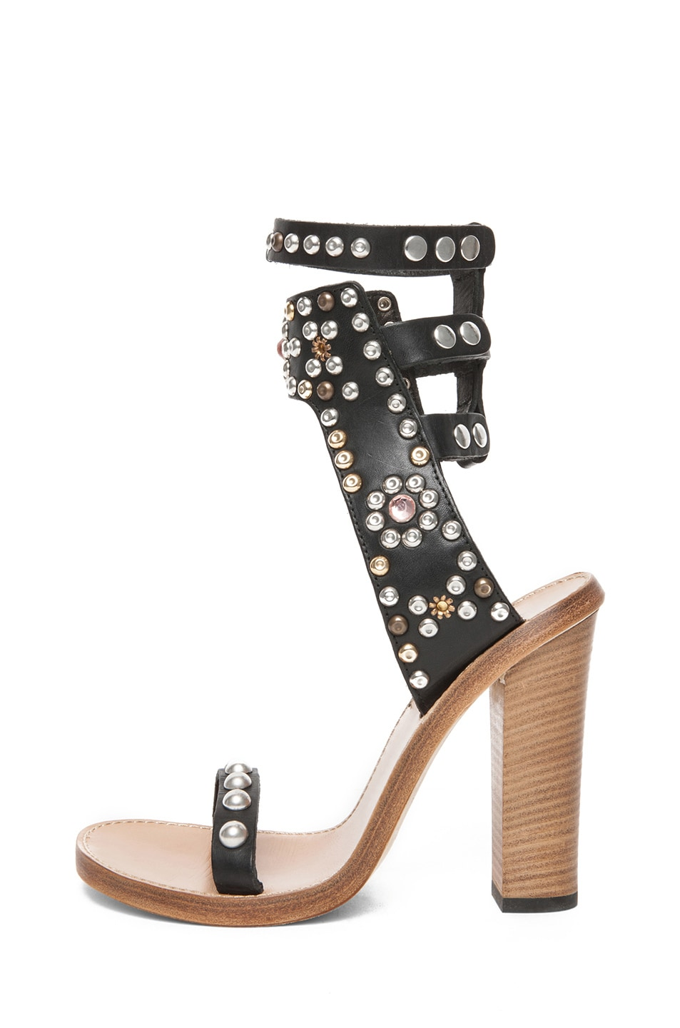 Image 1 of Isabel Marant Charlotte Strassed and Studded Sandals in Black