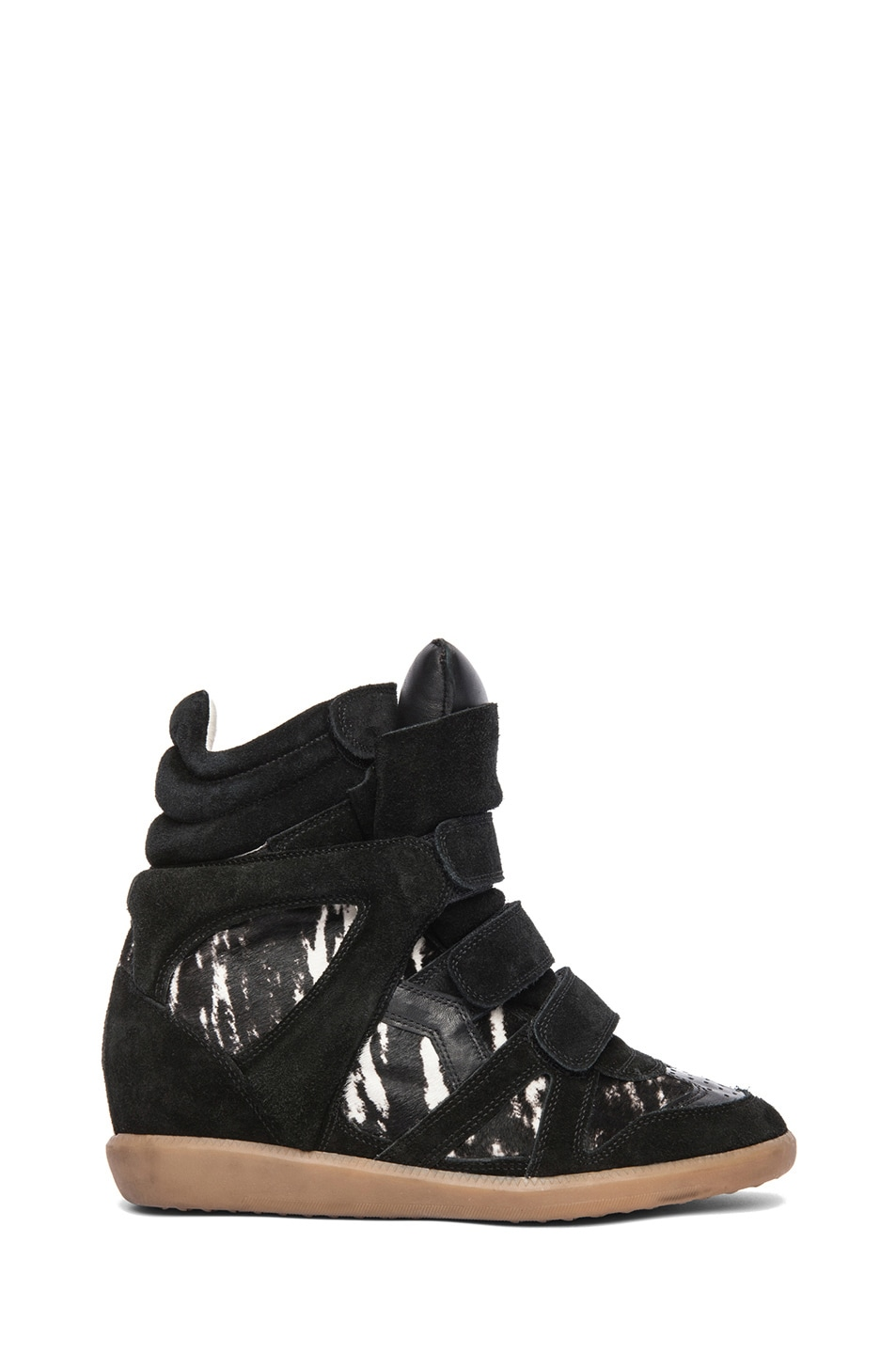 Image 1 of Isabel Marant Benett Calfskin Velvet Leather Pony Sneakers in Anthracite
