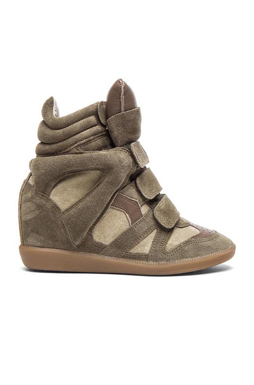 Image 1 of Isabel Marant Bekett Calfskin Velvet Leather Sneakers in Taupe