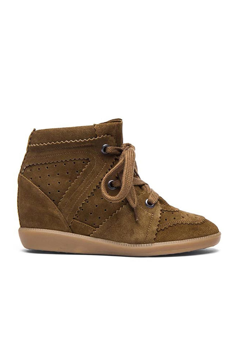 Image 1 of Isabel Marant Bobby Calfskin Velvet Leather Sneakers in Camel