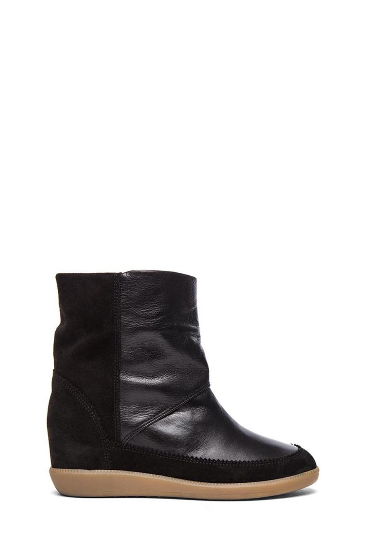 Image 1 of Isabel Marant Nuty Calfskin Velvet Leaher Ankle Boot in Black