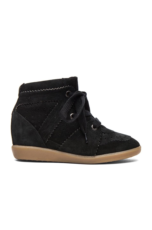 Image 1 of Isabel Marant Bobby Calfskin Velvet Leather Sneakers in Faded Black