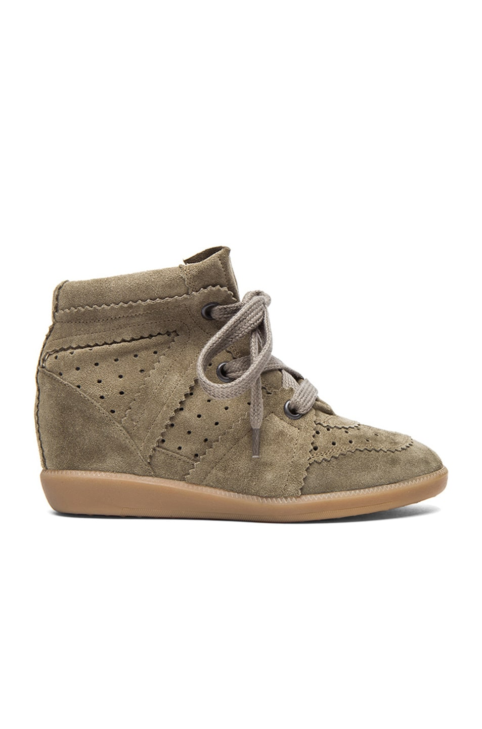 Image 1 of Isabel Marant Bobby Calfskin Velvet Leather Sneakers in Taupe