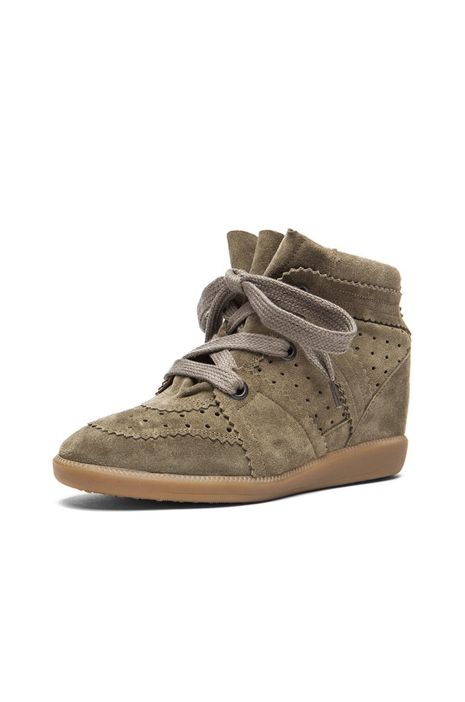 Image 2 of Isabel Marant Bobby Calfskin Velvet Leather Sneakers in Taupe