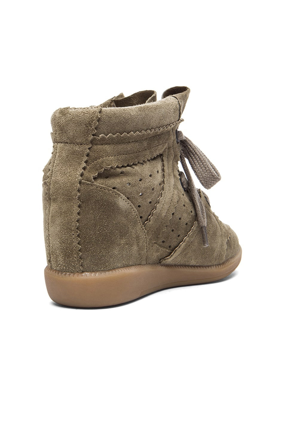 Image 3 of Isabel Marant Bobby Calfskin Velvet Leather Sneakers in Taupe