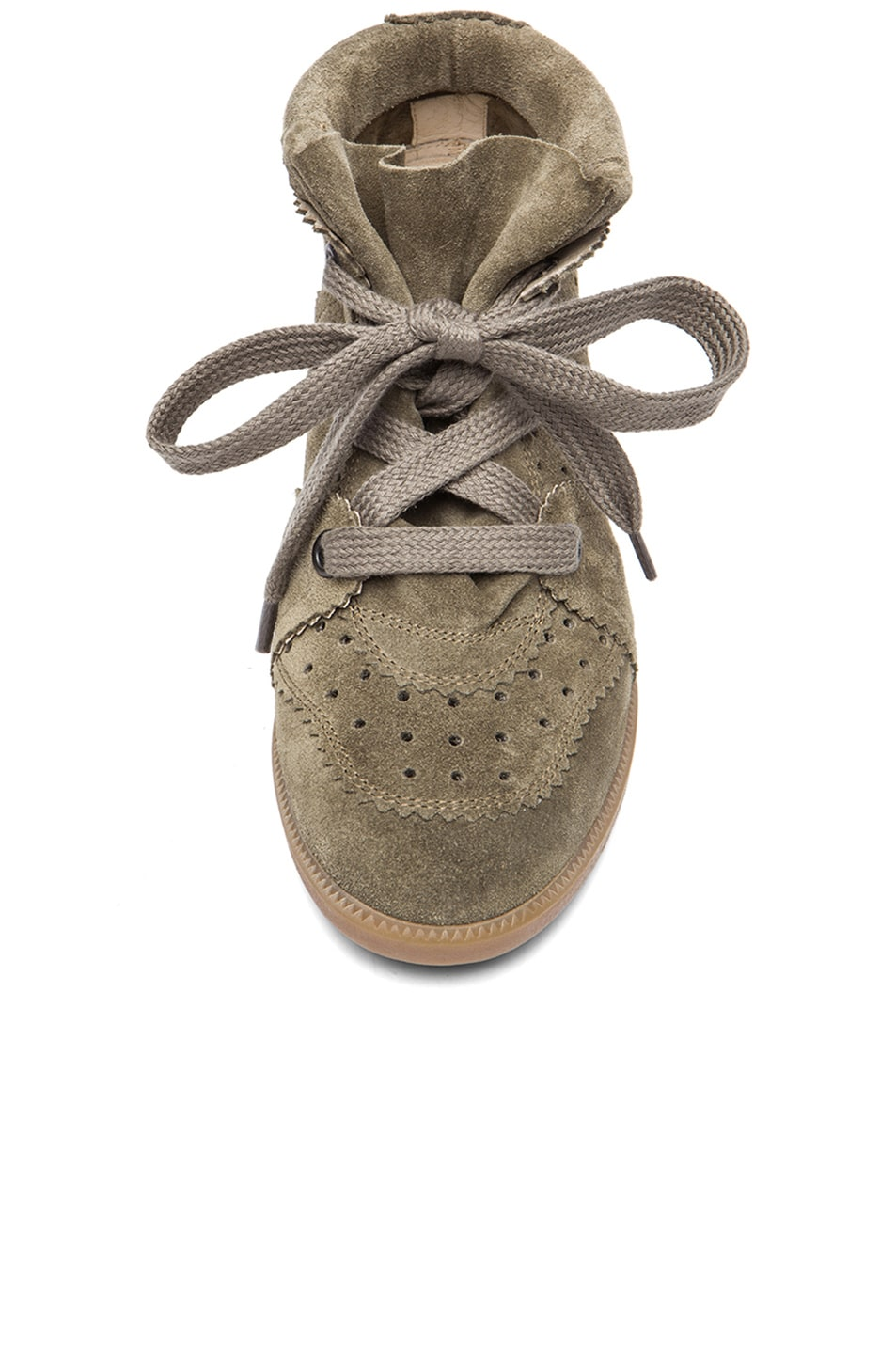 Image 4 of Isabel Marant Bobby Calfskin Velvet Leather Sneakers in Taupe