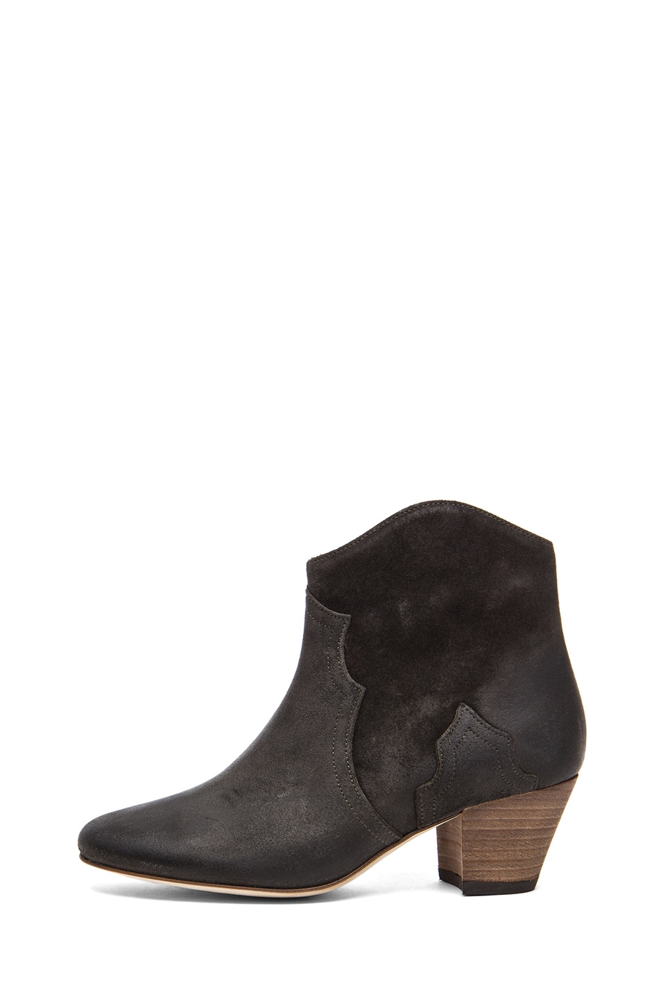 Image 1 of Isabel Marant Dicker Calfskin Velvet Leather Boot in Faded Black