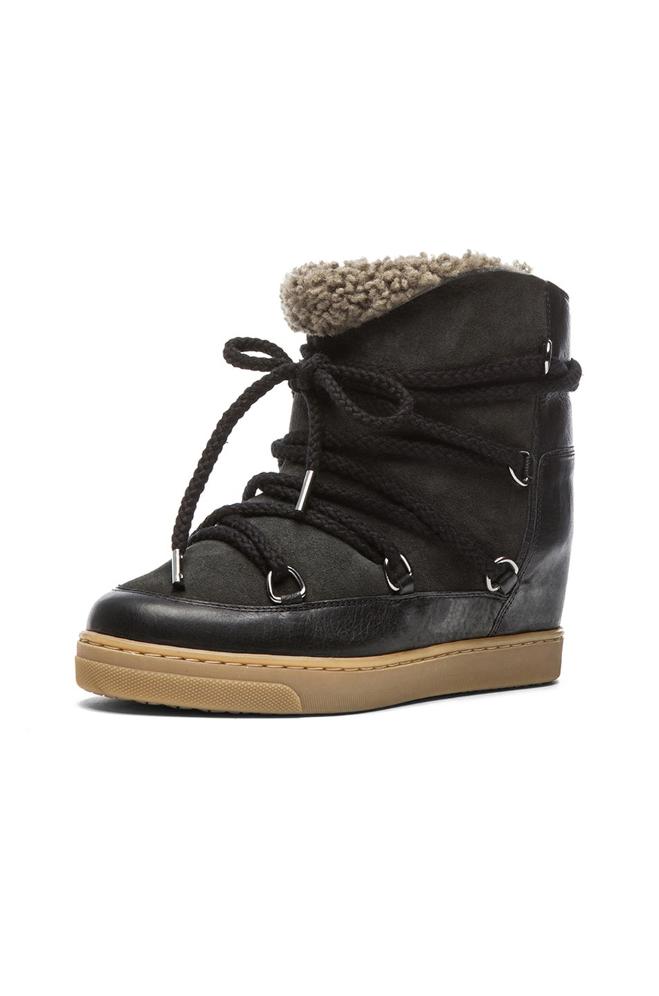 Image 2 of Isabel Marant Nowles Shearling and Leather Boots in Black