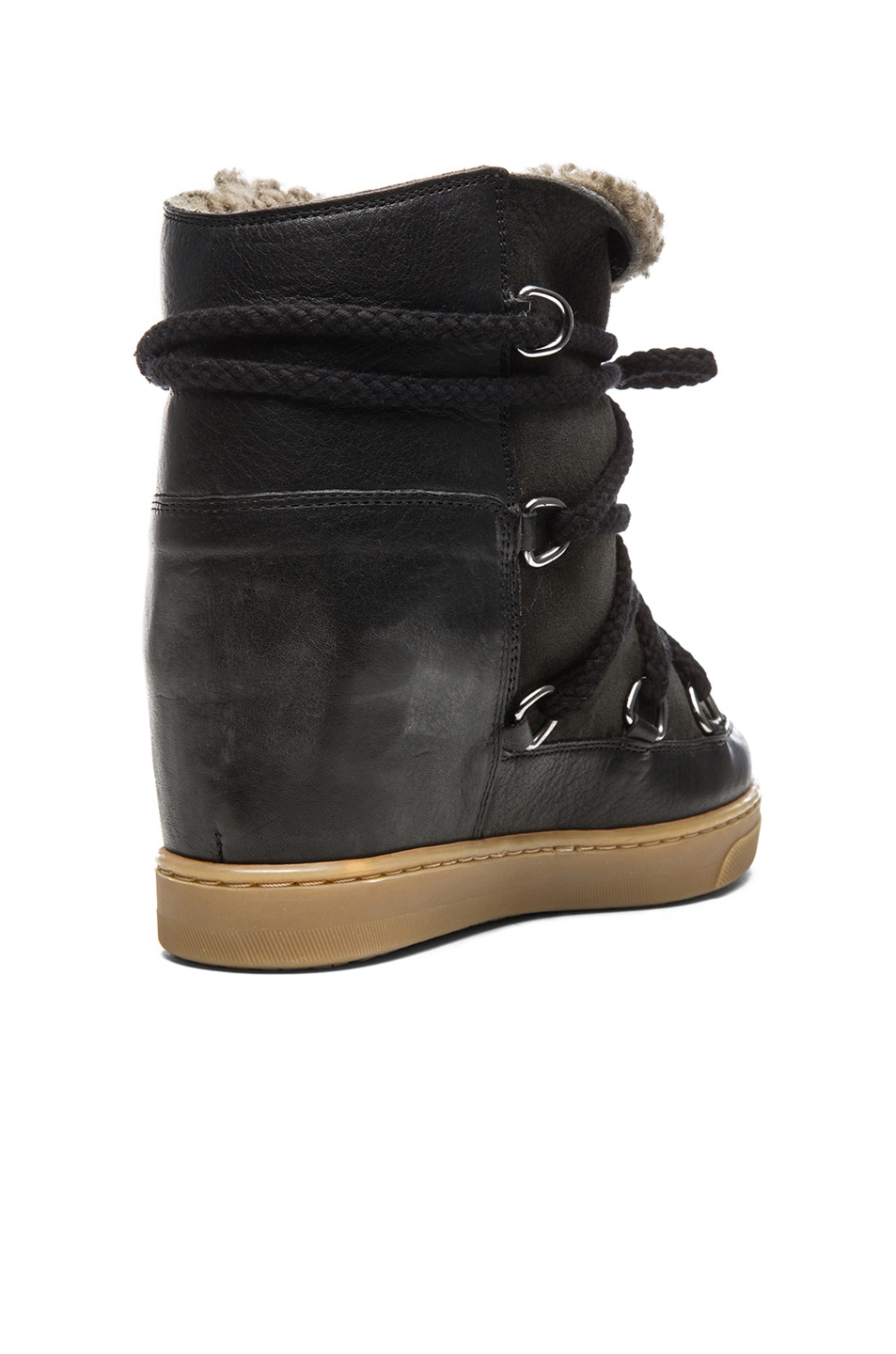Image 3 of Isabel Marant Nowles Shearling and Leather Boots in Black