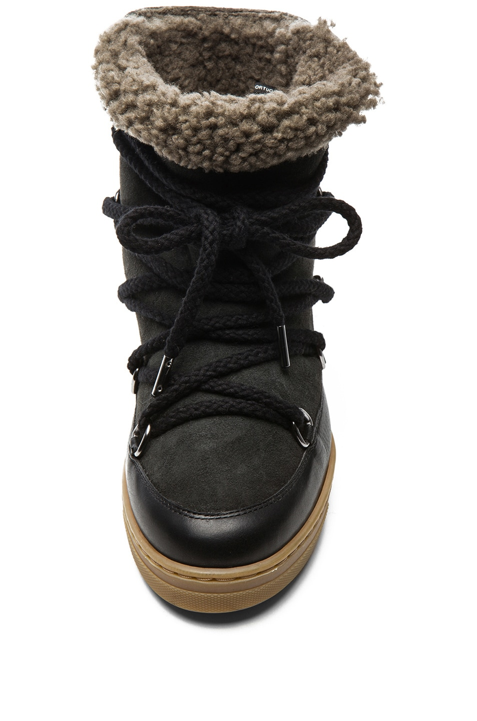 Image 4 of Isabel Marant Nowles Shearling and Leather Boots in Black