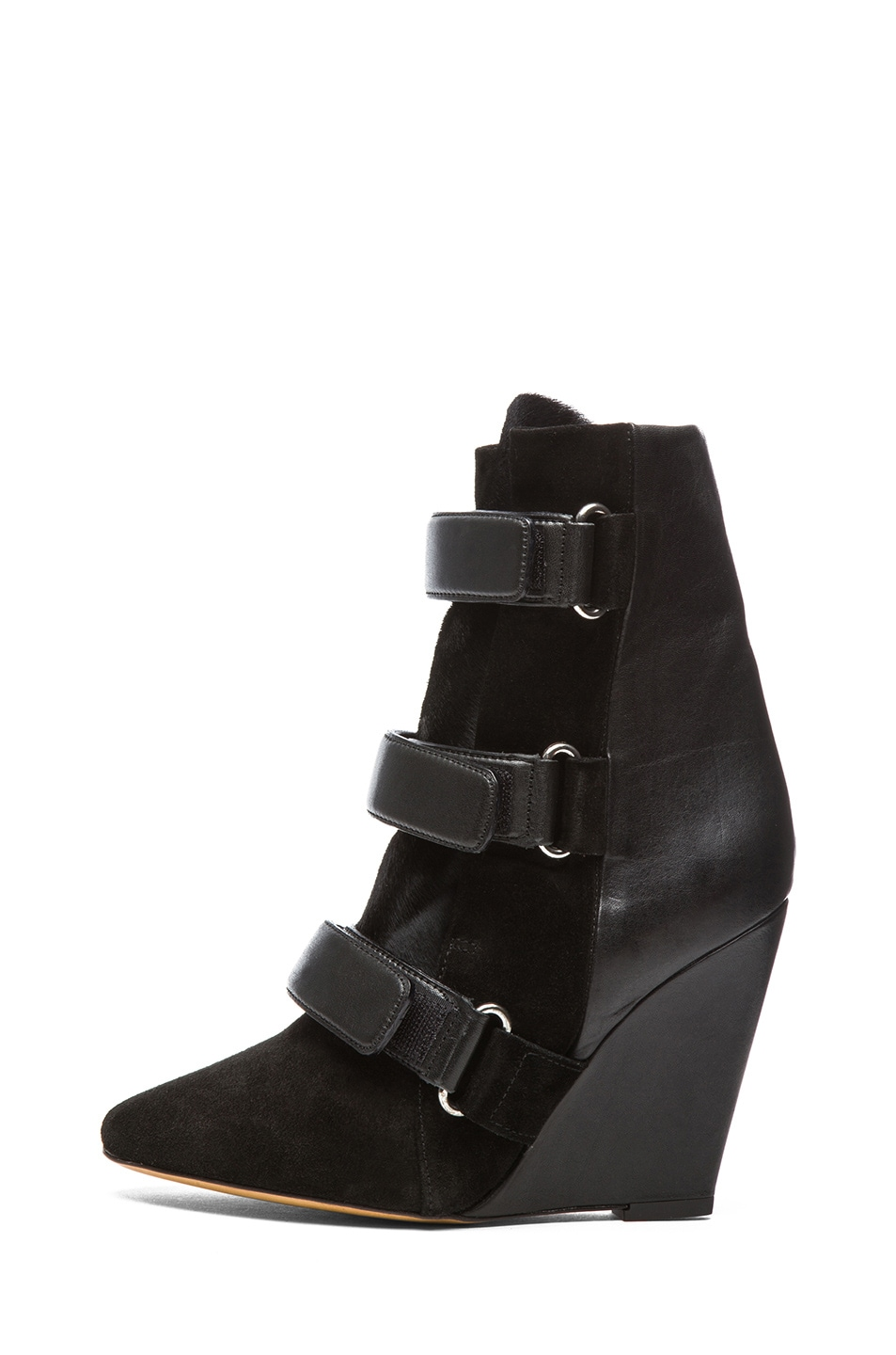 Image 1 of Isabel Marant Scarlet Calfskin Suede Leather Wedge Booties in Black