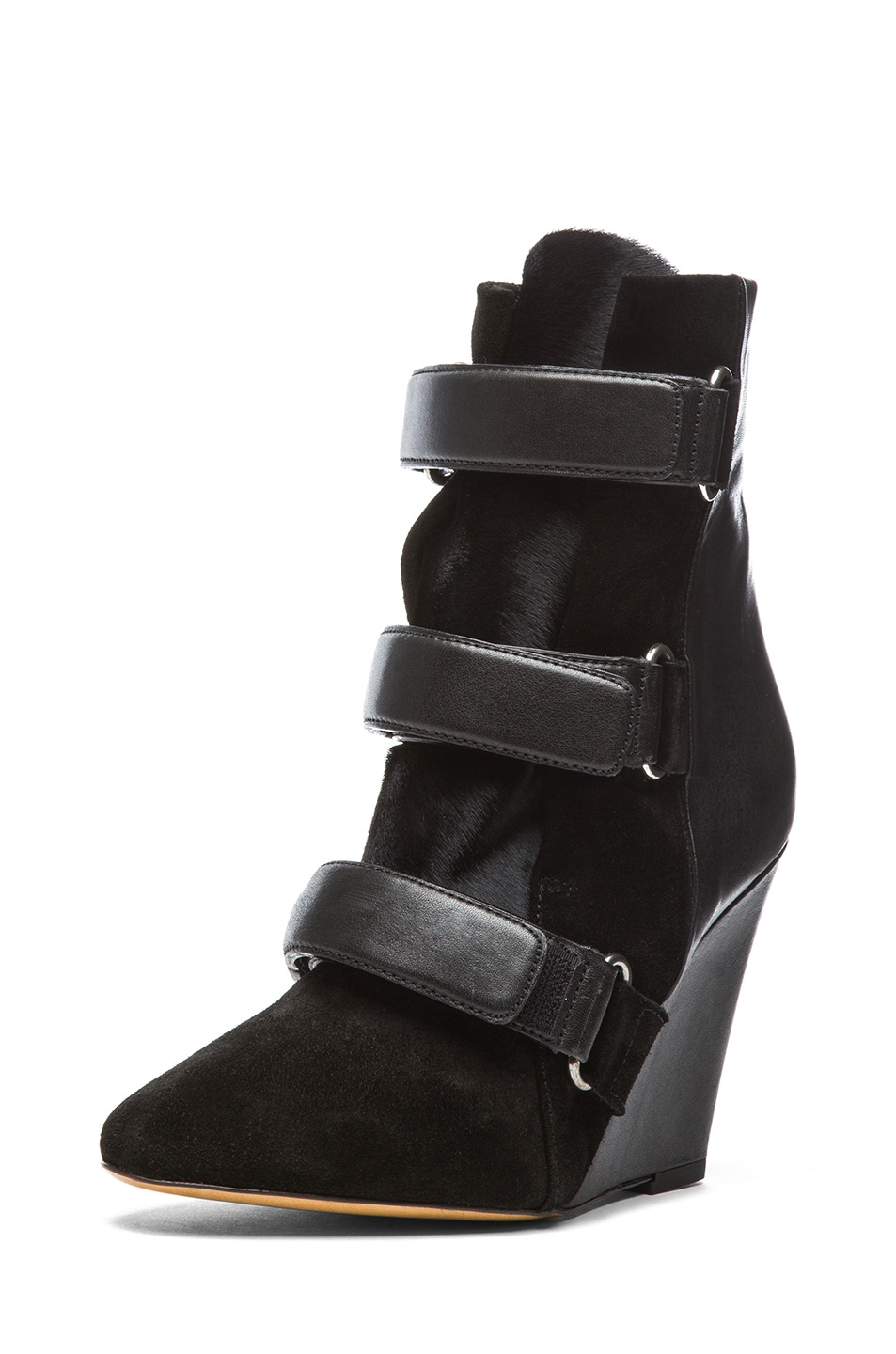 Image 2 of Isabel Marant Scarlet Calfskin Suede Leather Wedge Booties in Black
