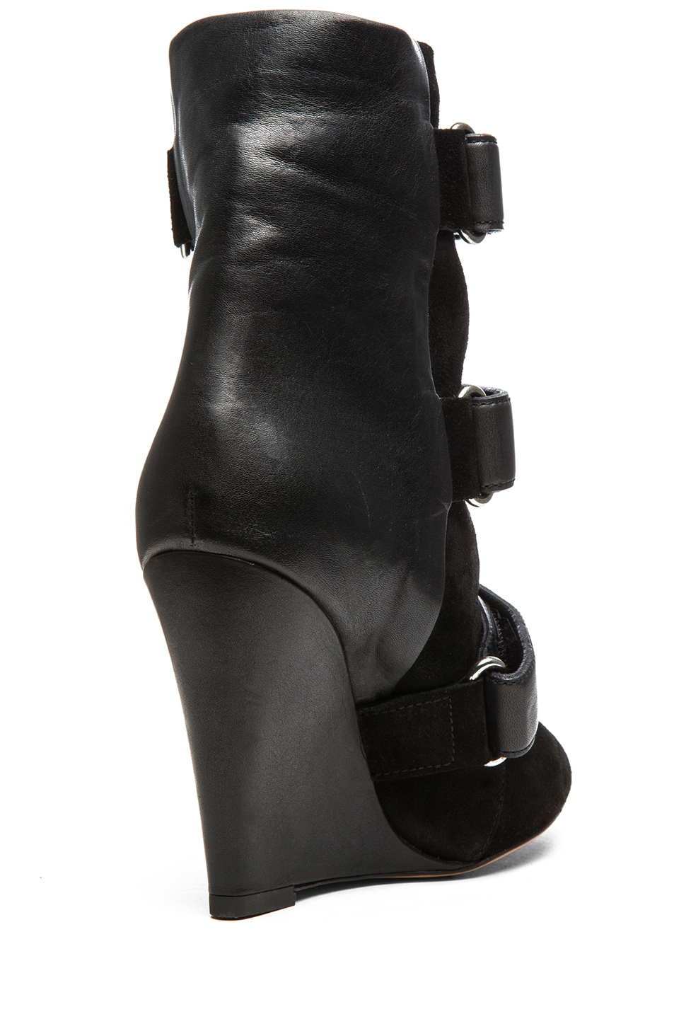 Image 3 of Isabel Marant Scarlet Calfskin Suede Leather Wedge Booties in Black