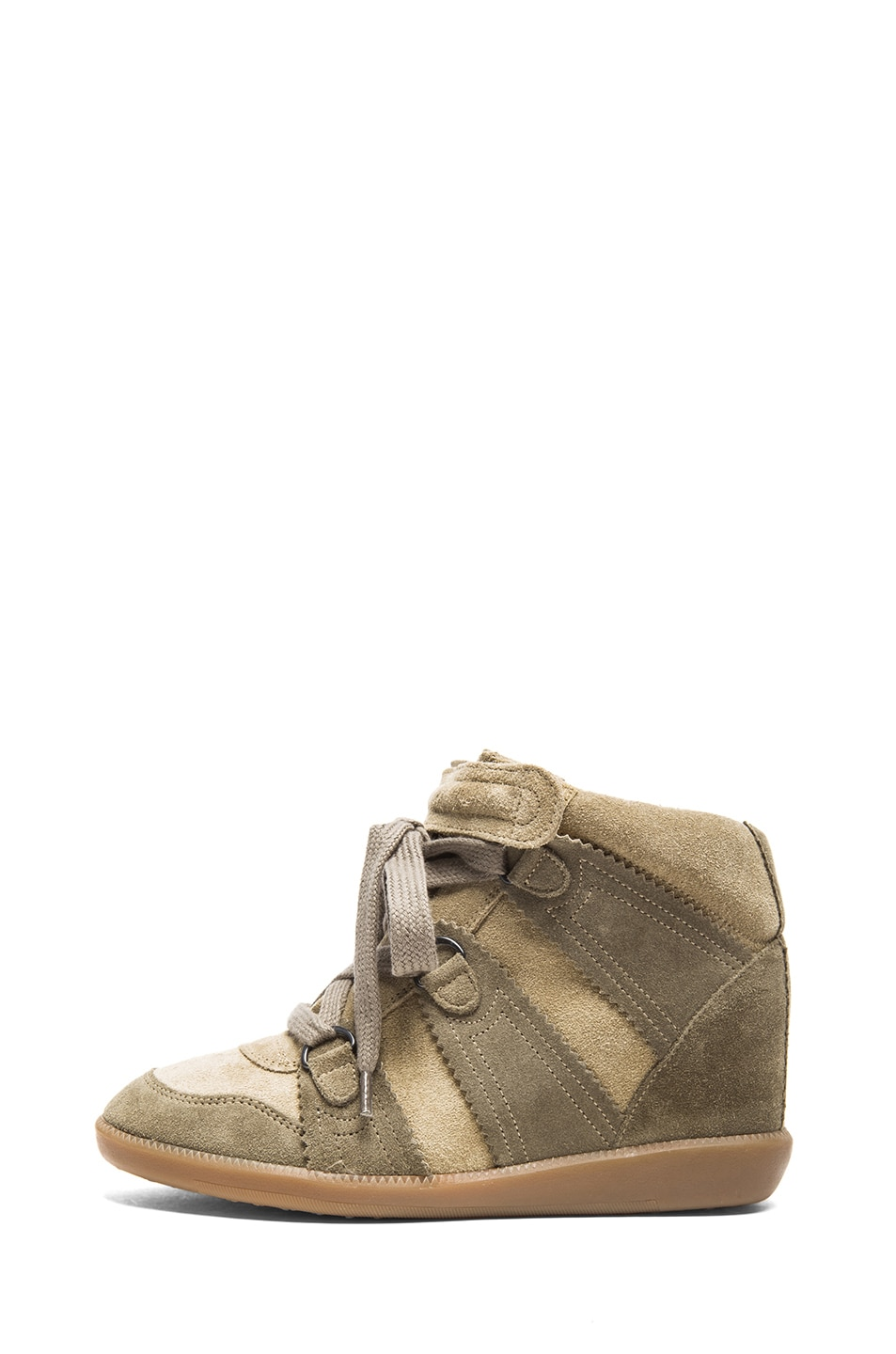 Image 1 of Isabel Marant Bluebel Calfskin Velvet Leather Sneakers in Taupe