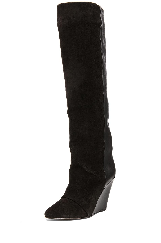 Image 2 of Isabel Marant Prescott Calfskin Velvet Leather Boots in Black