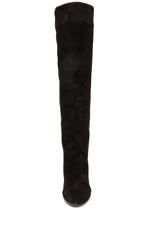 Image 4 of Isabel Marant Prescott Calfskin Velvet Leather Boots in Black