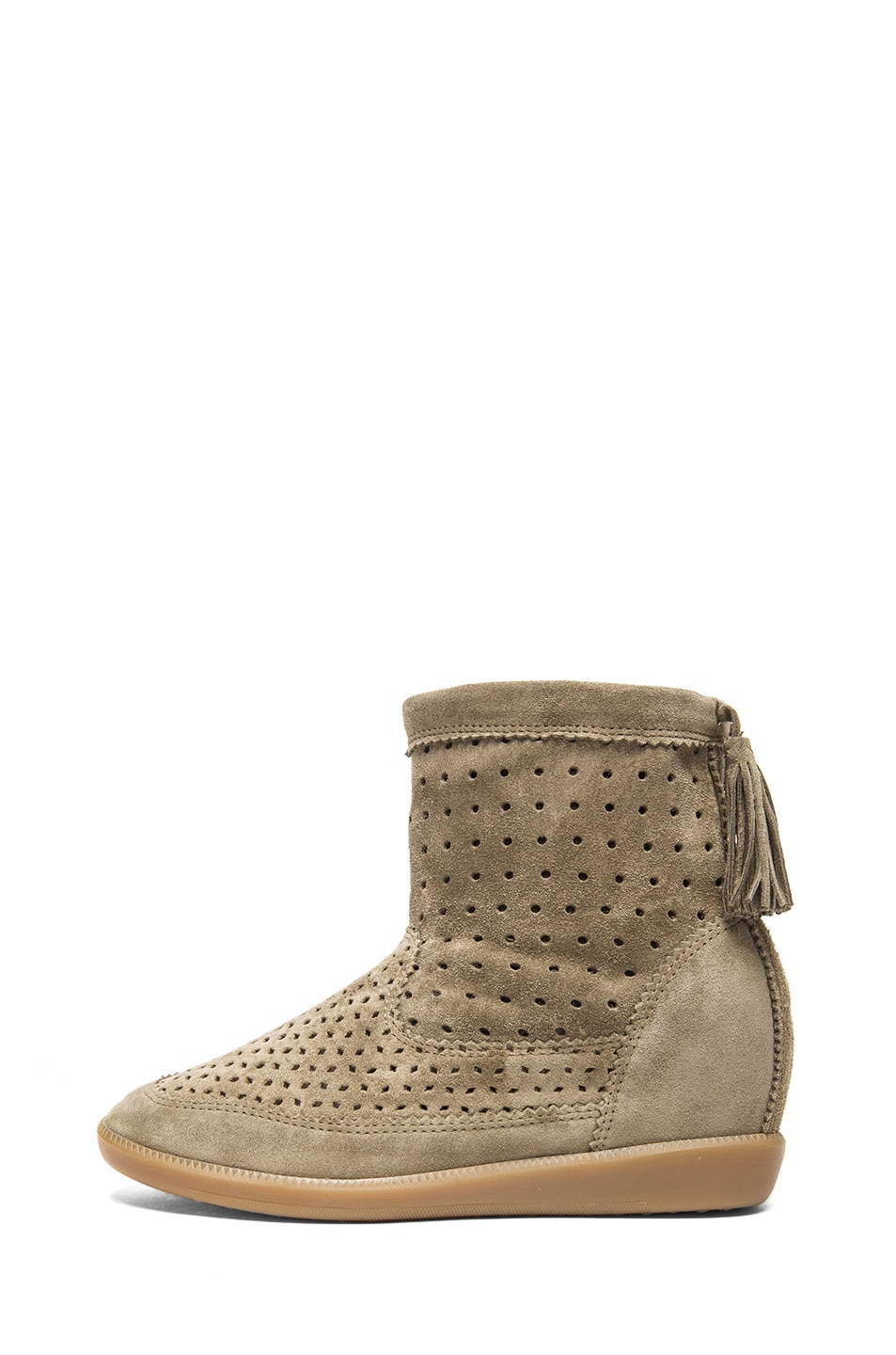 Image 1 of Isabel Marant Beslay Calfskin Velvet Leather Boots in Taupe