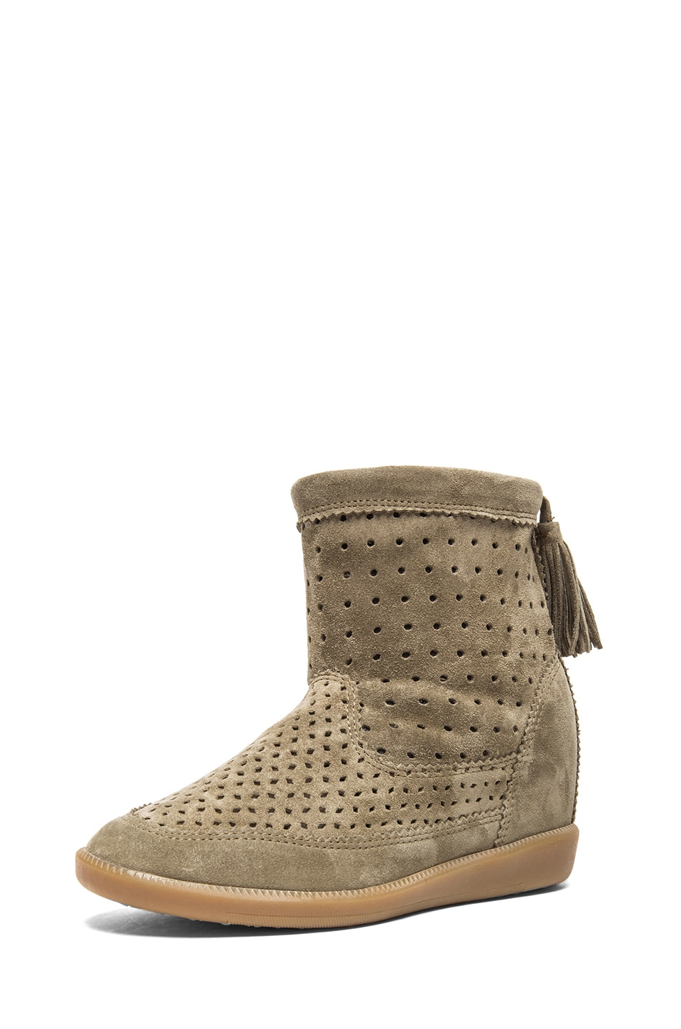 Image 2 of Isabel Marant Beslay Calfskin Velvet Leather Boots in Taupe