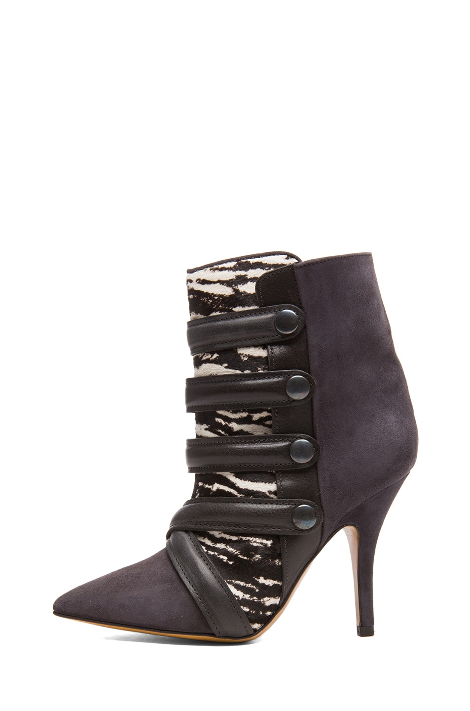 Image 1 of Isabel Marant Tacy Goat Suede Leather Pony Booties in Anthracite