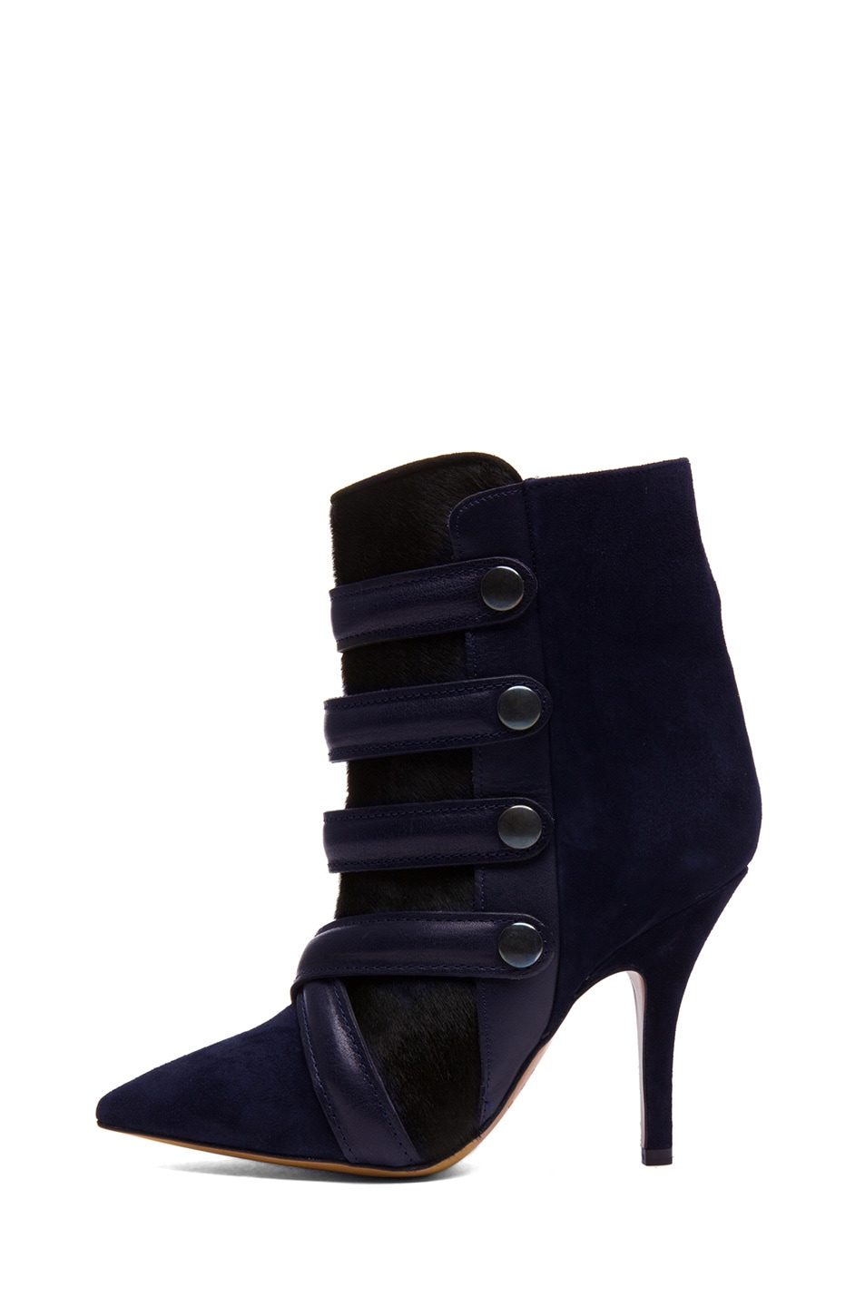 Image 1 of Isabel Marant Tacy Goat Suede Leather Pony Booties in Midnight