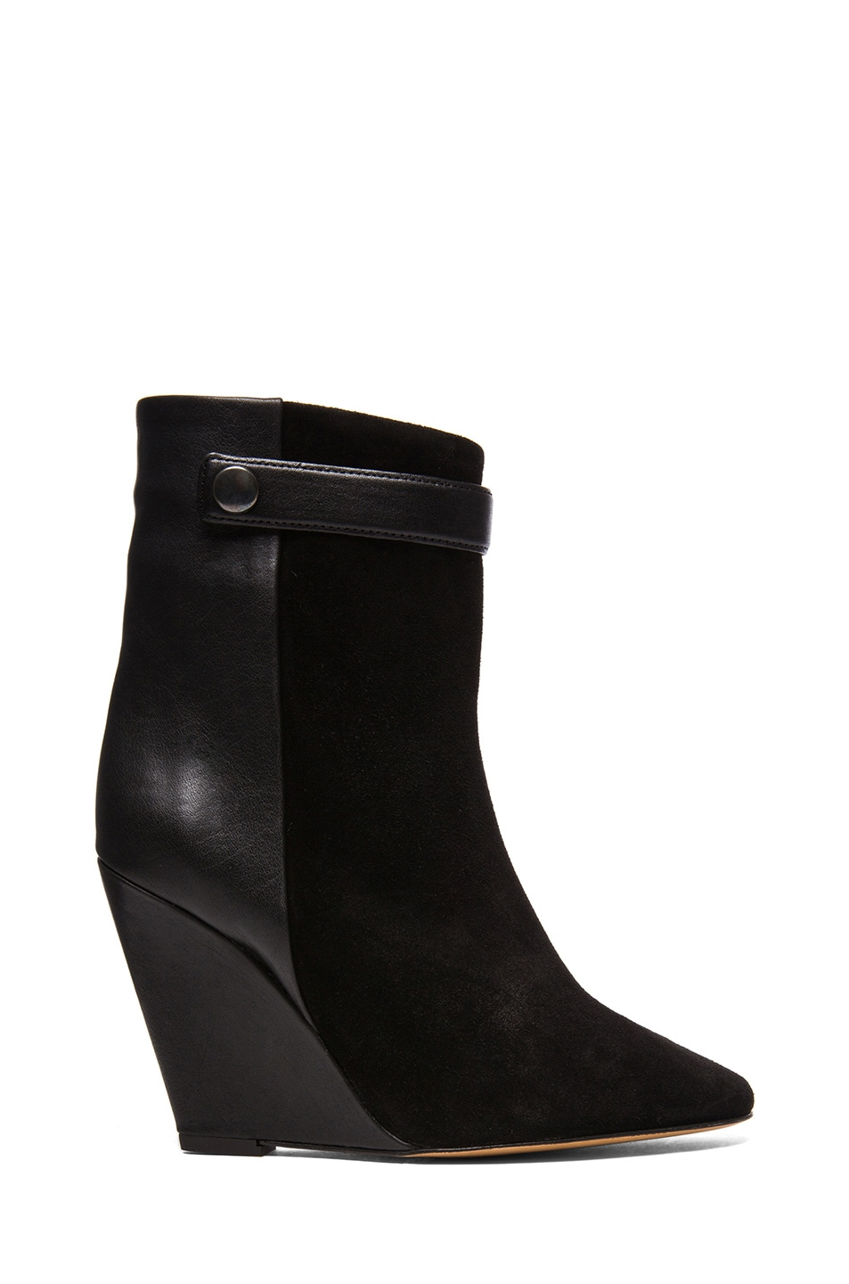 Image 1 of Isabel Marant Purdey Calfskin Velvet & Leather Booties in Black