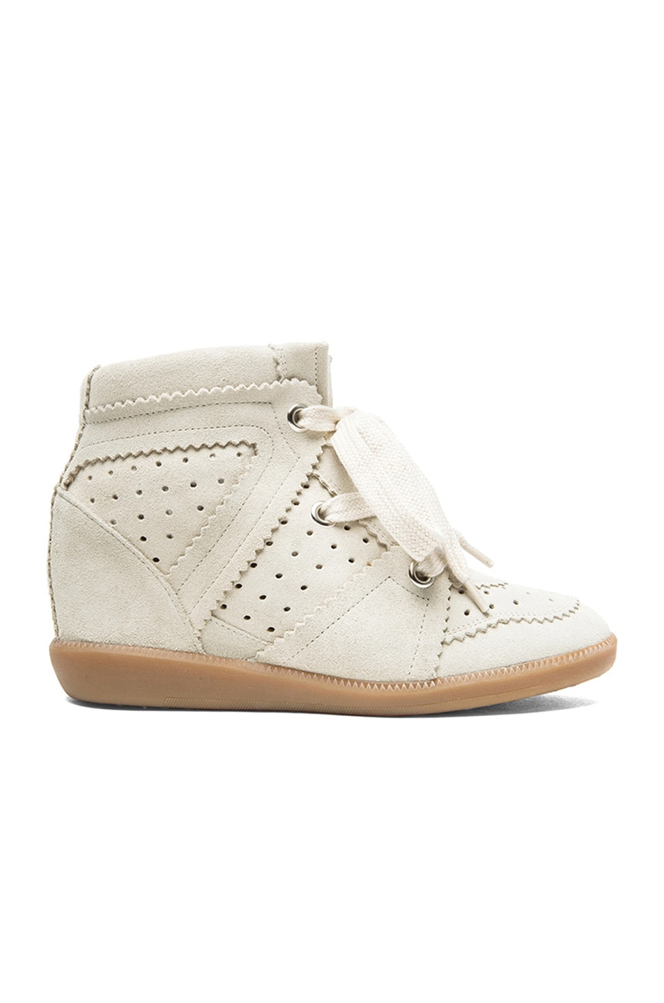 ac284646b3 Image 1 of Isabel Marant Bobby Calfskin Velvet Leather Sneakers in Chalk
