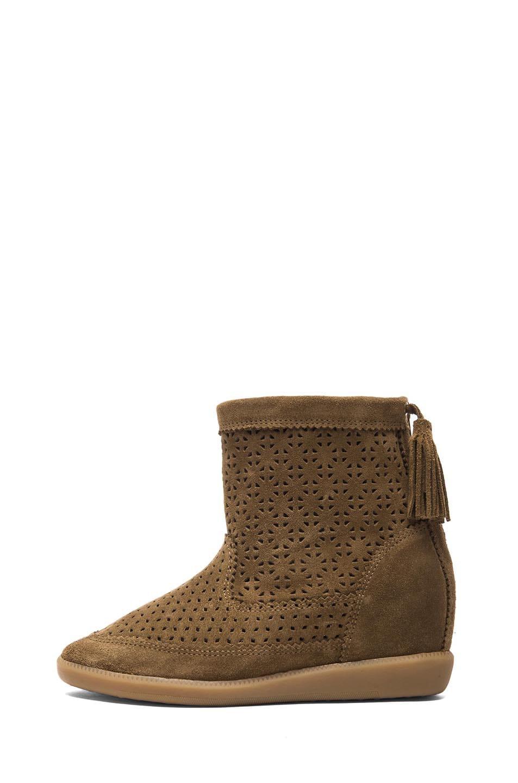 Image 1 of Isabel Marant Beslay Calfskin Velvet Leather Boots in Brown