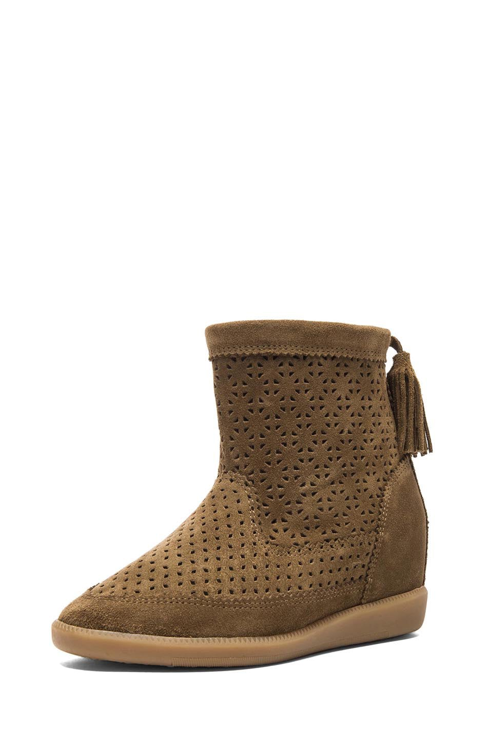 Image 2 of Isabel Marant Beslay Calfskin Velvet Leather Boots in Brown