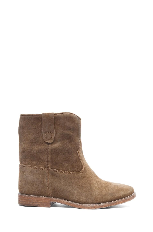 Image 1 of Isabel Marant Crisi Calfskin Velvet Leather Boots in Brown