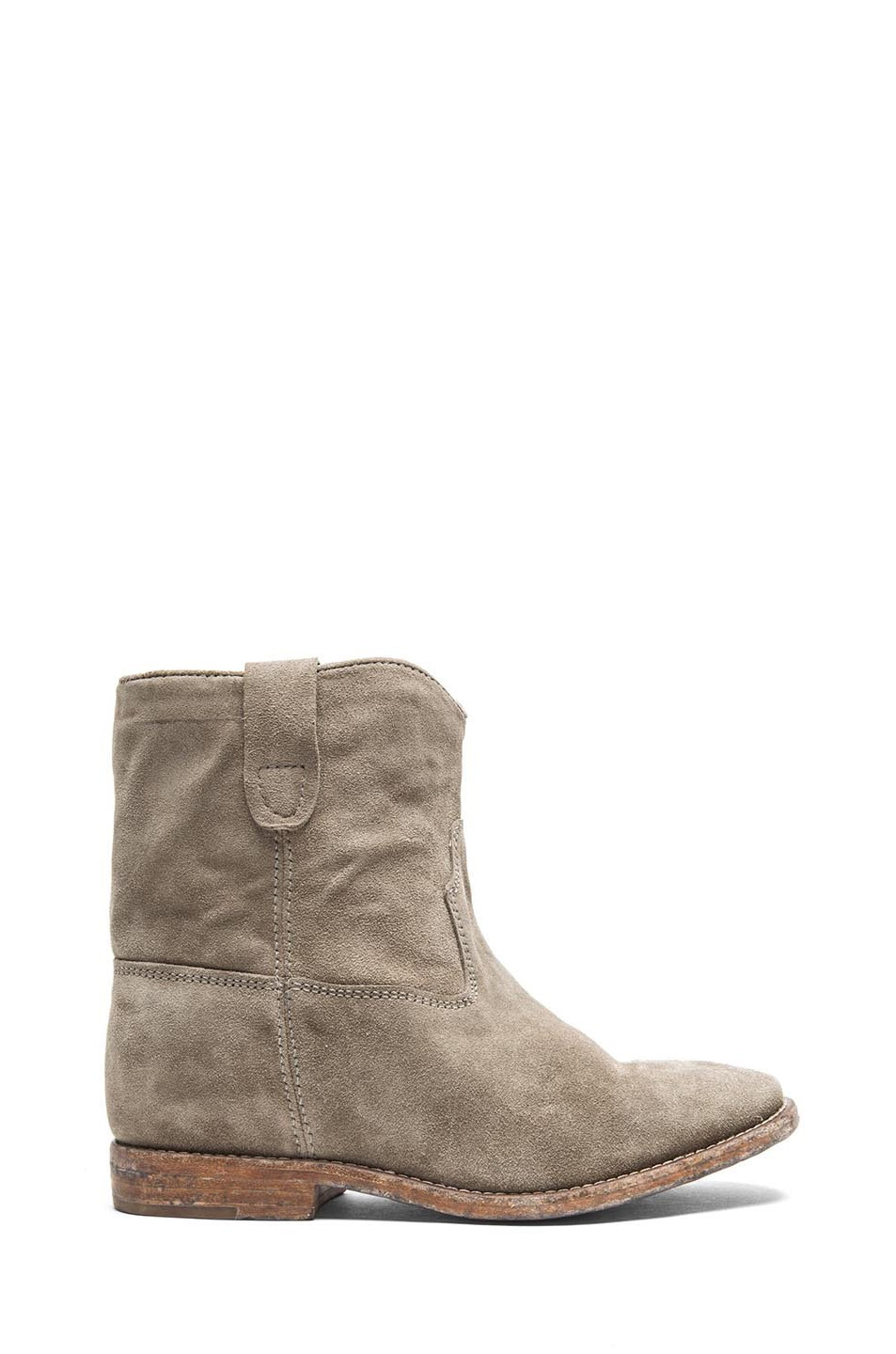 Image 1 of Isabel Marant Crisi Calfskin Velvet Leather Boots in Taupe