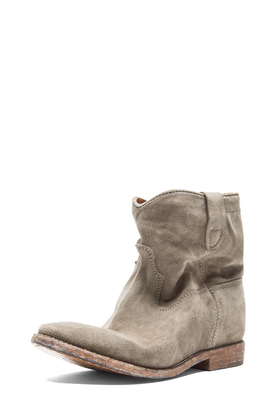 Image 2 of Isabel Marant Crisi Calfskin Velvet Leather Boots in Taupe