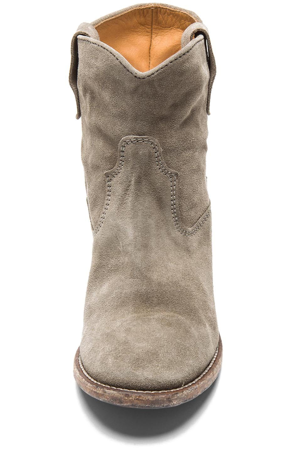 Image 4 of Isabel Marant Crisi Calfskin Velvet Leather Boots in Taupe