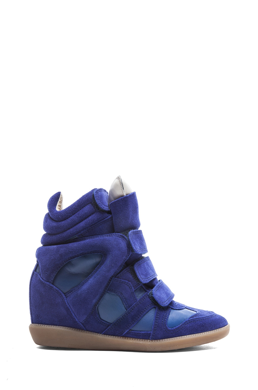 Image 1 of Isabel Marant Burt Calfskin Velvet Leather Sneakers in Blue