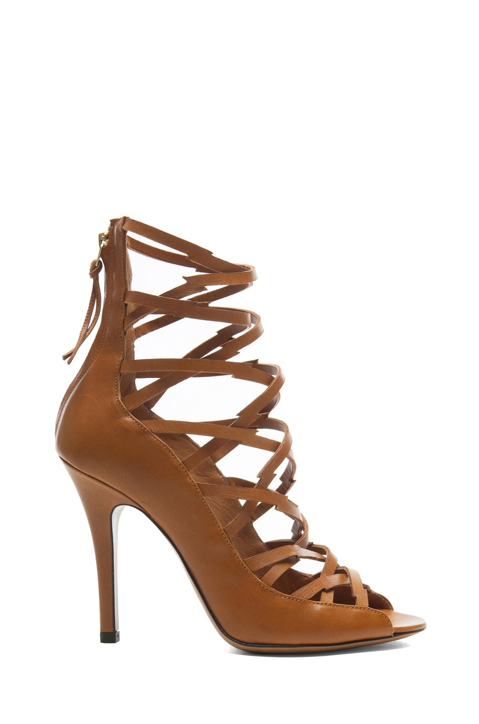 Image 1 of Isabel Marant Paw Calfskin Leather Sandals in Cognac