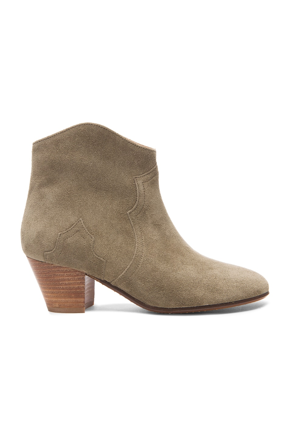 Image 1 of Isabel Marant Dicker Calfskin Velvet Booties in Taupe