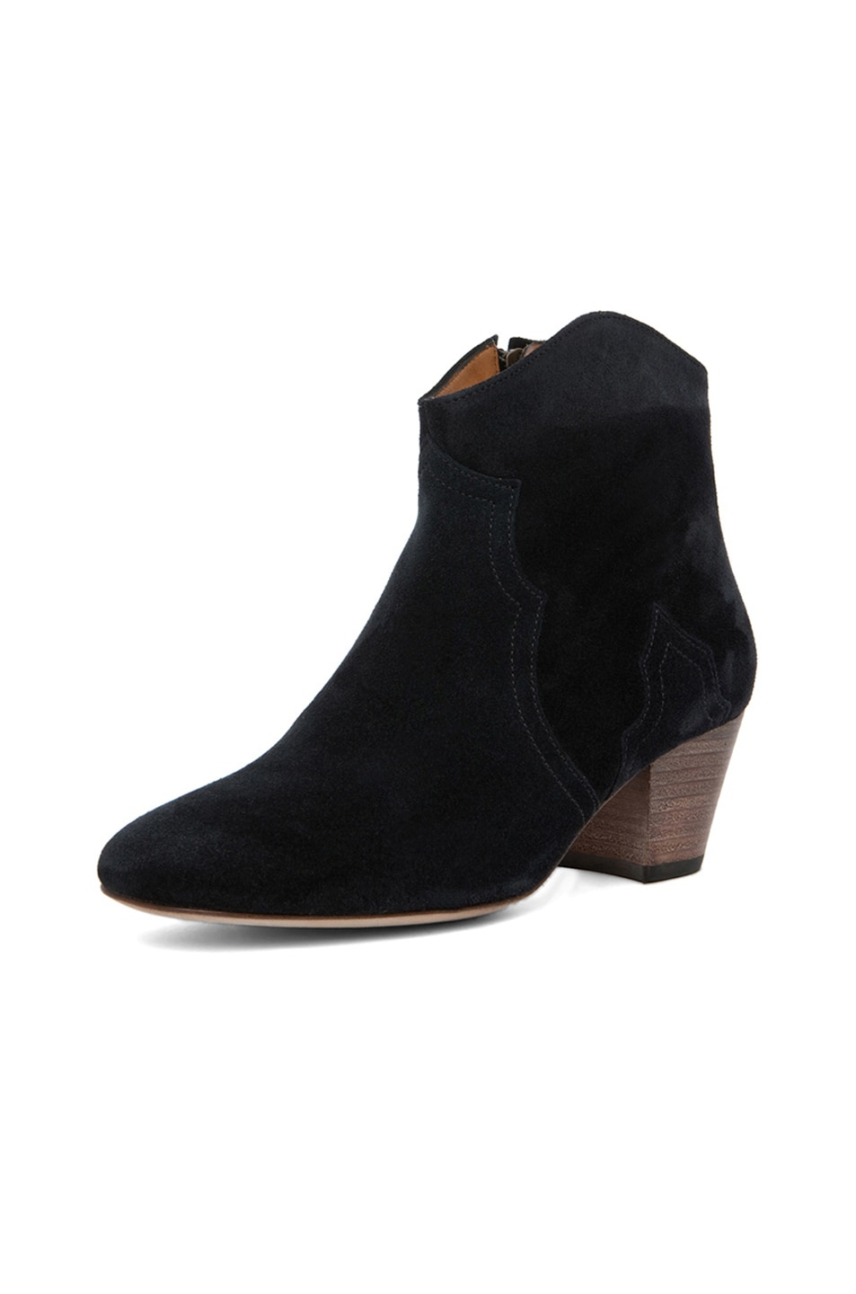 Image 2 of Isabel Marant Dicker Calfskin Velvet Leather Booties in Anthracite