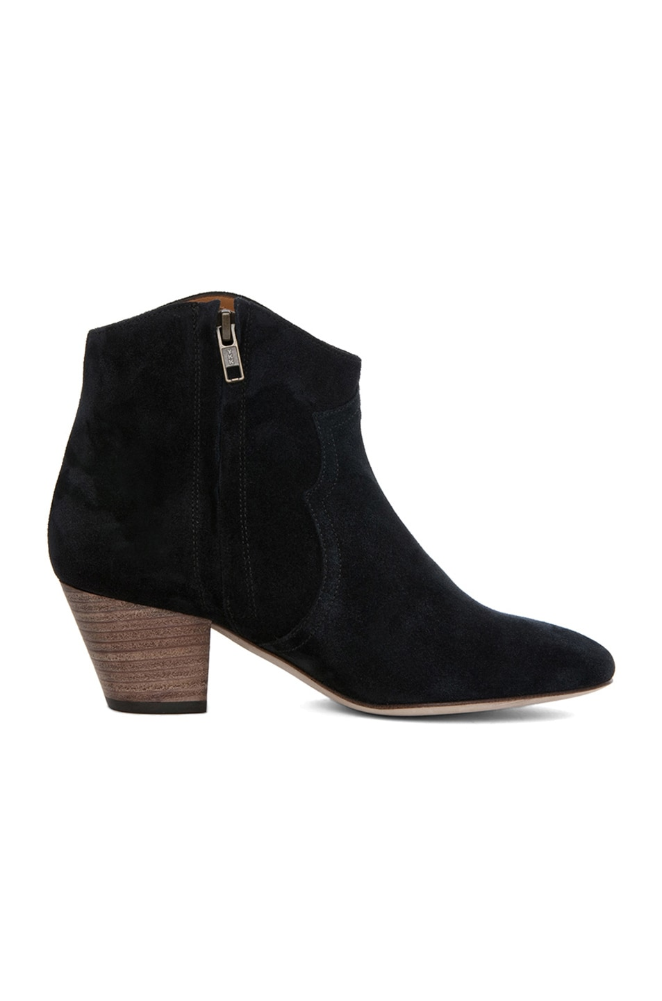 Image 5 of Isabel Marant Dicker Calfskin Velvet Leather Booties in Anthracite
