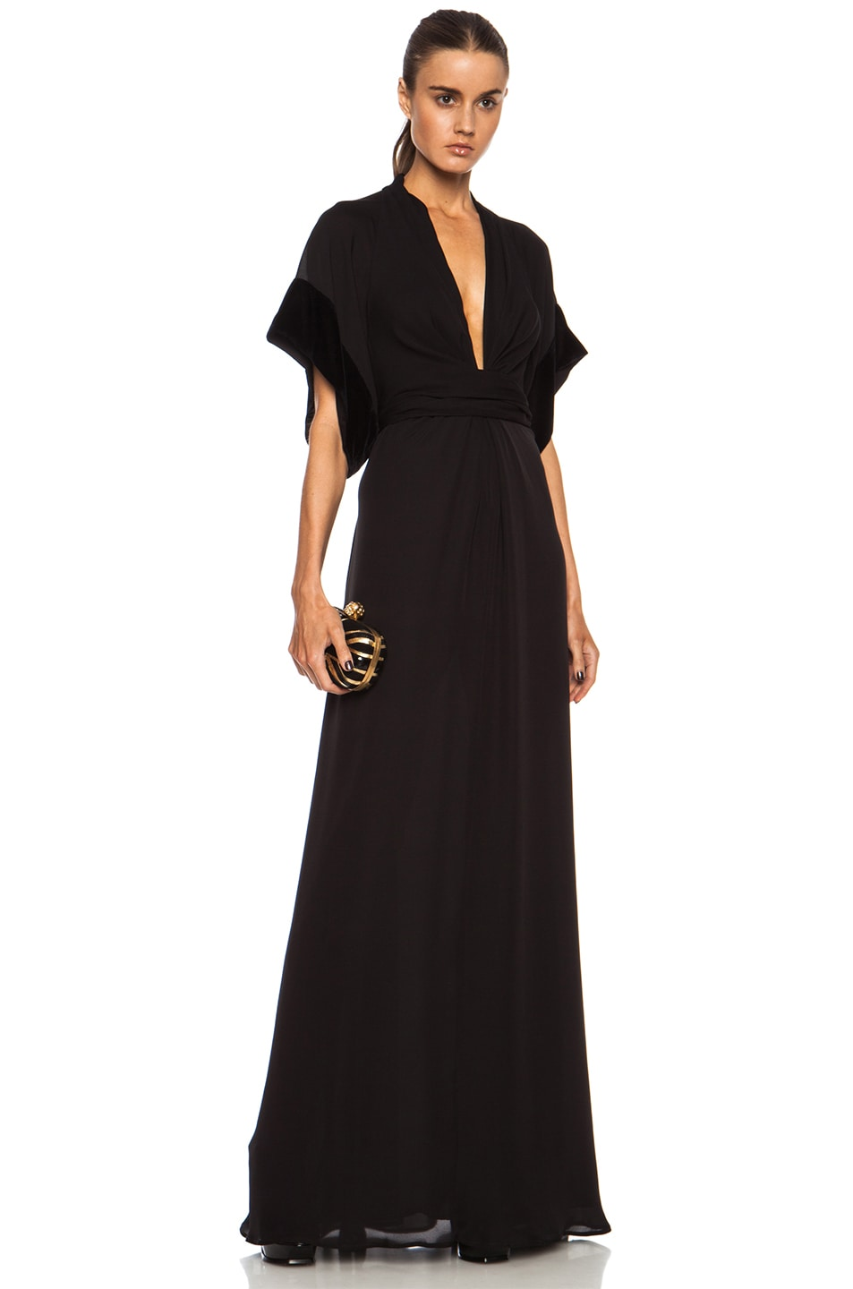 Image 1 of Issa Pollyanna Knot Front Maxi Silk Dress in Onyx