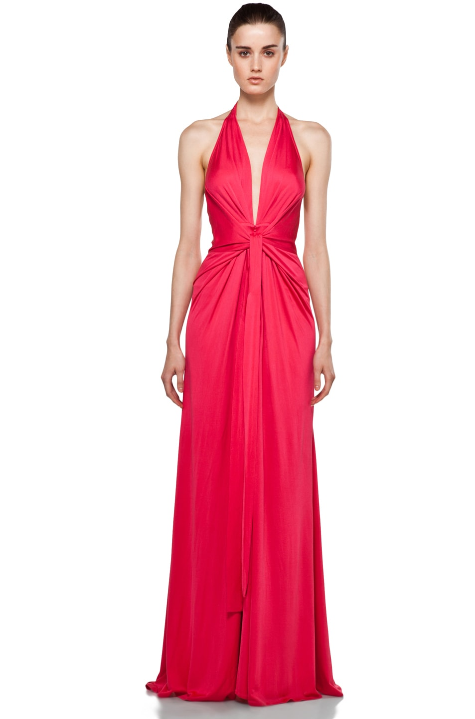 Image 1 of Issa Halter Maxi Dress in Pomegranate